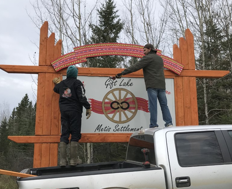 One of two signs designed and installed by Gift Lake Youth